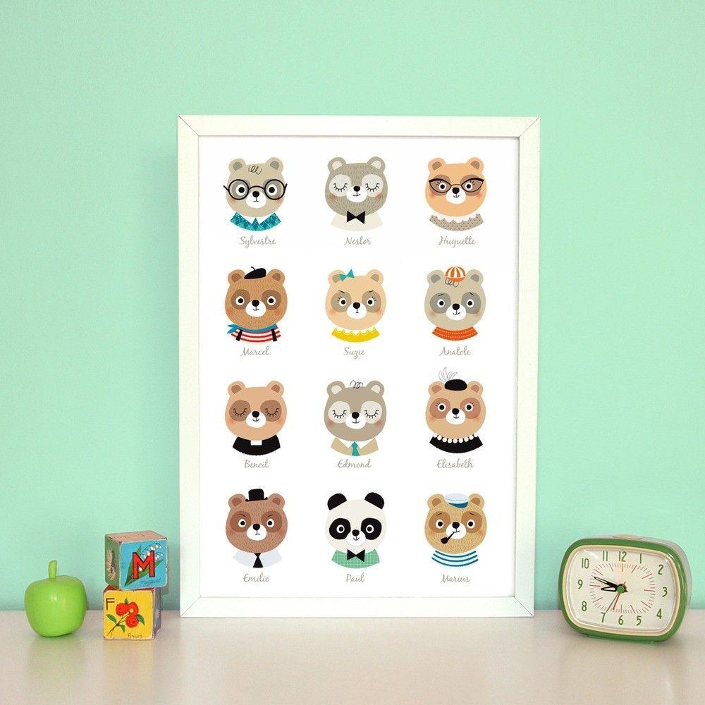affiche chambre bébé vintage