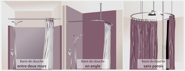 barre de douche sans fixation
