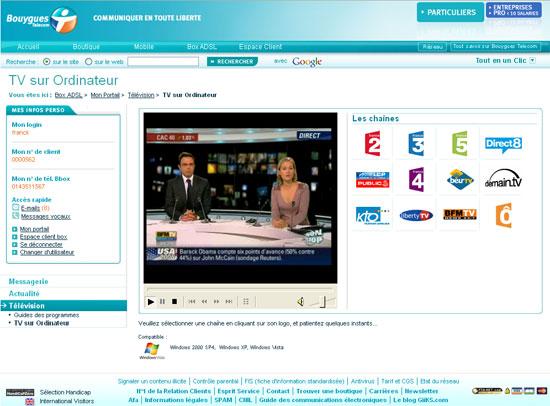 bbox tv sur pc portable