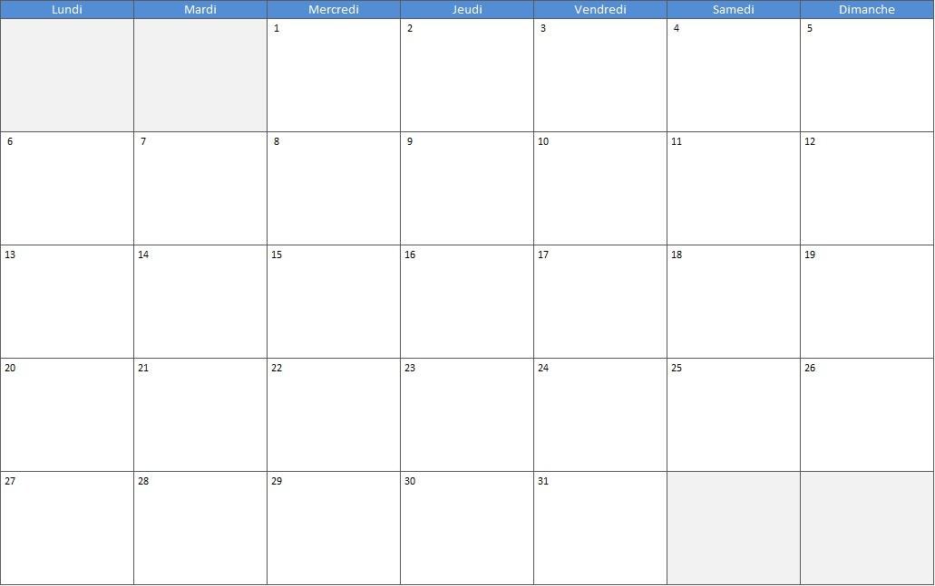calendrier du mois de juillet