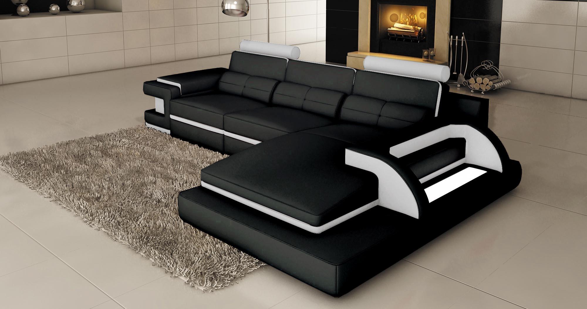 canapé d angle cuir noir et blanc