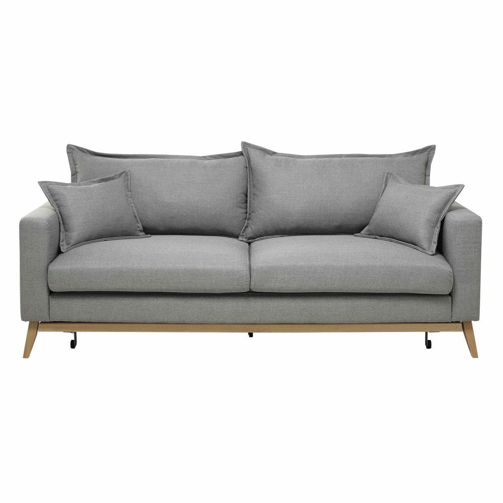 canapé tissu gris clair
