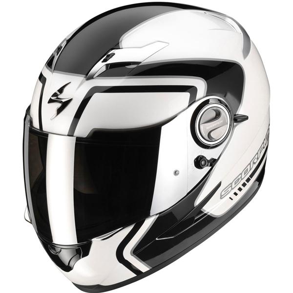 casque moto blanc et noir