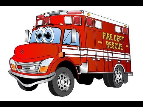 dessin animé camion pompier