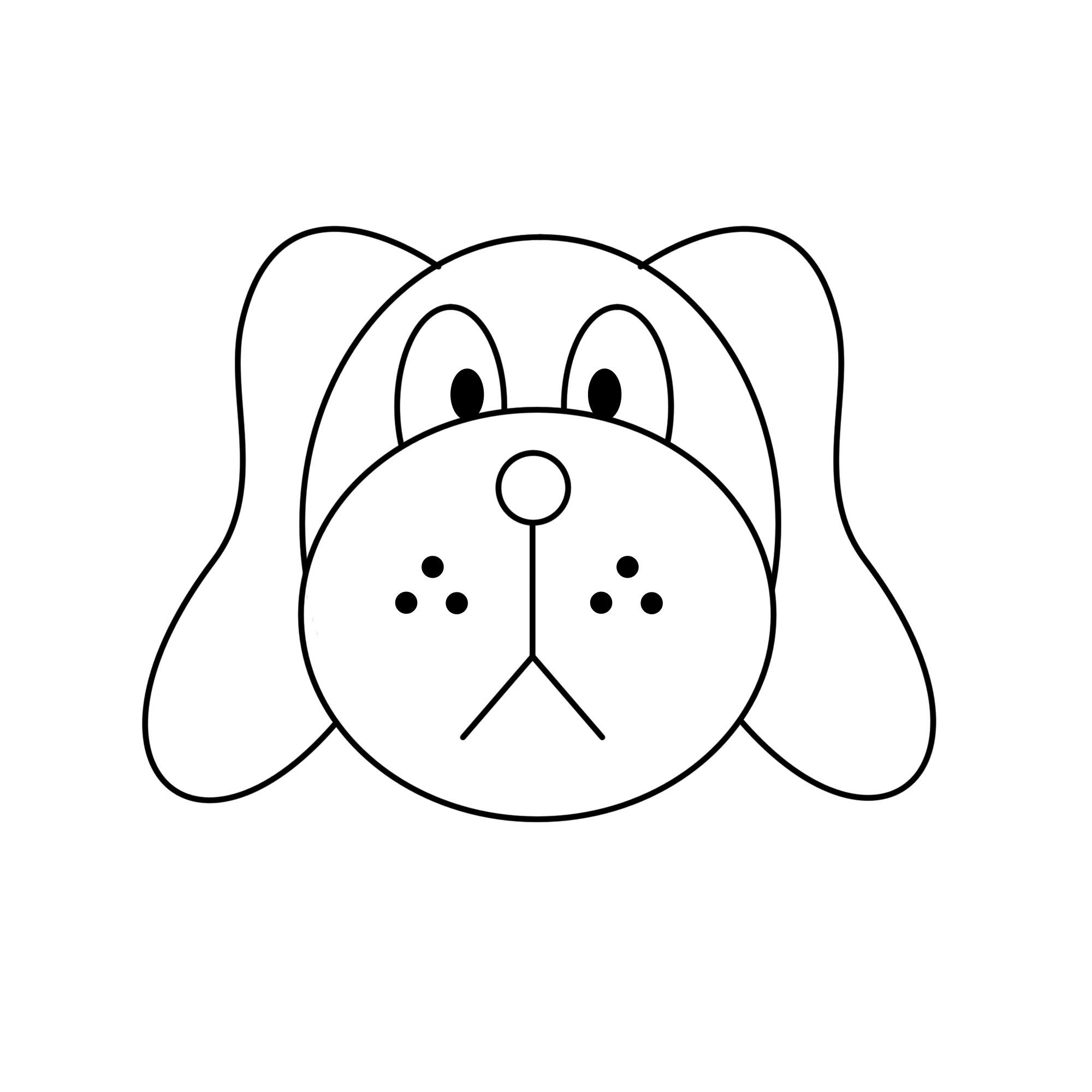dessin de tete de chien facile