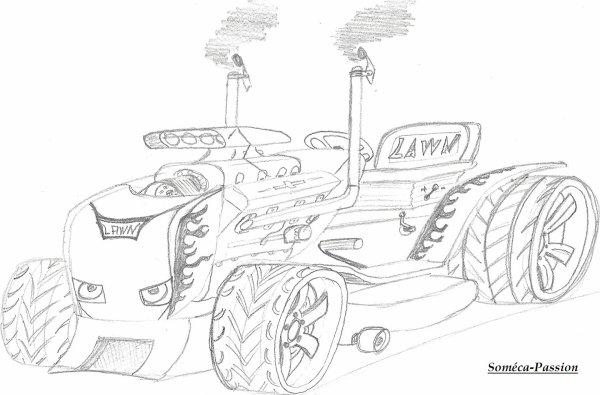dessin tracteur tondeuse