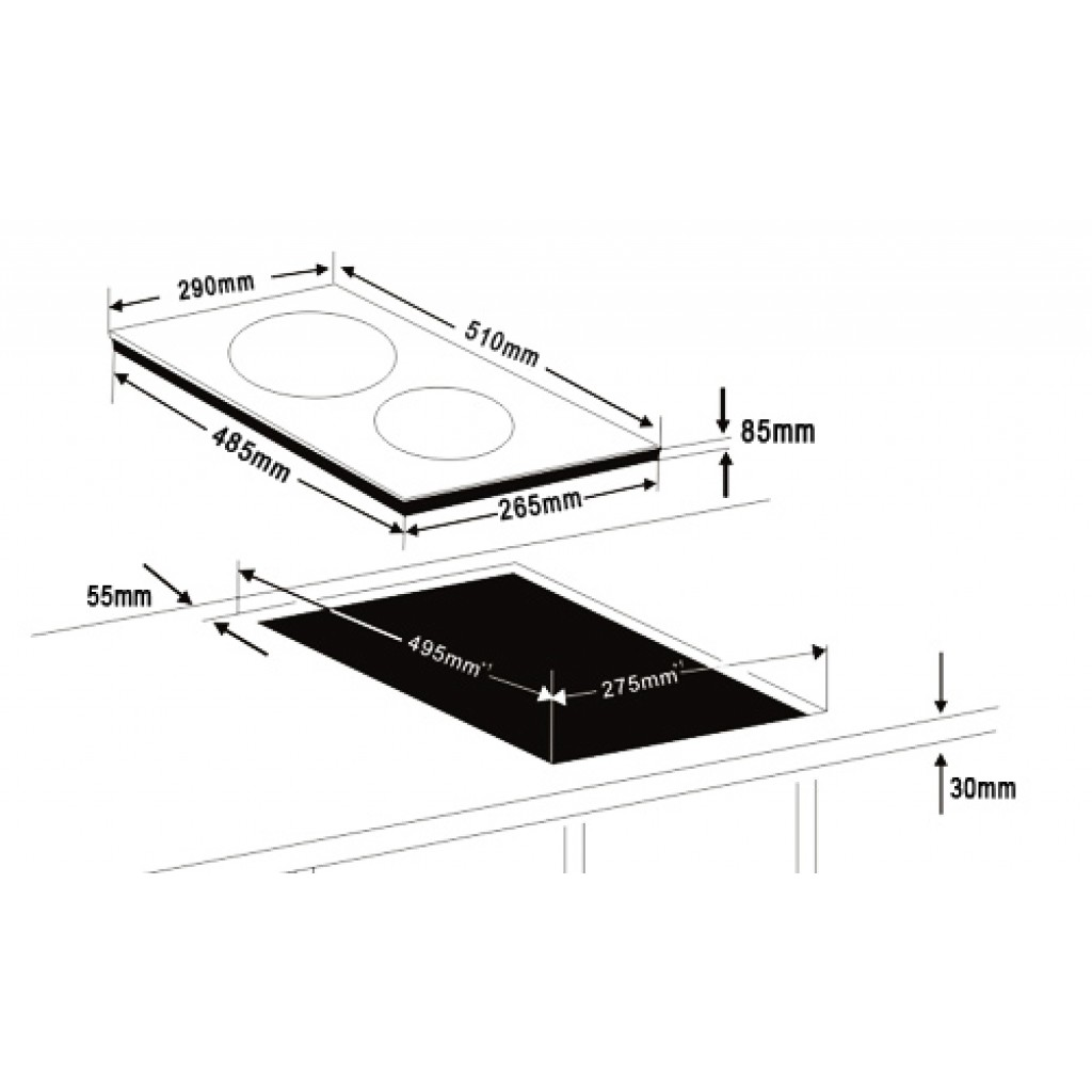 dimension plaque de cuisson induction
