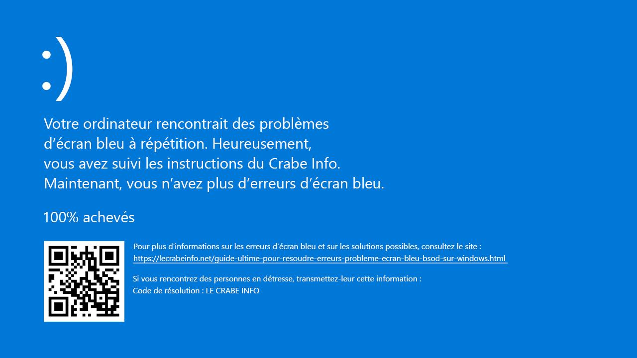 ecran bleu windows 7
